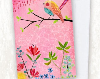 Pink Bird Floral GREETING CARD