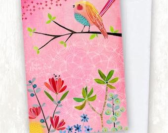 Rosa Vogel Blumen GRUßKARTE