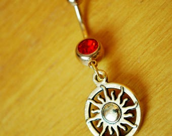 Gold sun belly ring, Celestial jewelry, Yoga namaste belly ring, spiritual red button jewelry, navel piercing, belly dancer