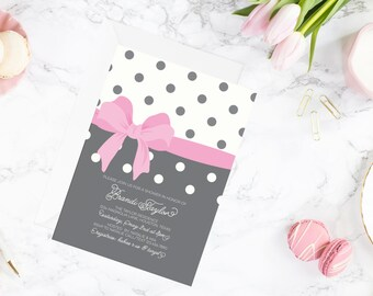 Bow Baby Shower Invitation | Girl Baby Shower Invitation | Pink Baby Shower Invite | Polka Dot Invitation