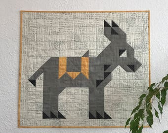 "Donkey Quilt - Wall Hanging - 34.5"" by 31"""