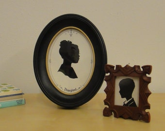 Vintage Framed Hand Cut Silhouette - Girl with Bun and Bow