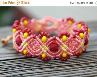 SALE REDUCED Micro-Macrame Beaded Bracelet - Pink and Yellow