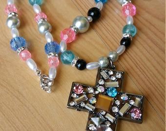 Easter Springtime Cross Pendant Necklace