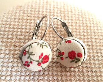 Cute Liberty of London fabric button earrings / stainless steel settings / leverback earrings / petite floral fabric earrings / 12mm across
