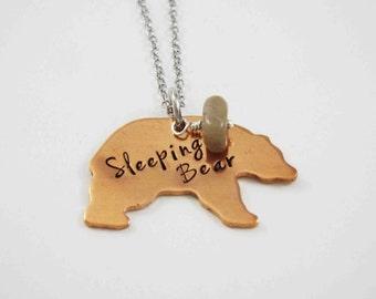 Michigan Necklace, Sleeping Bear Dunes, Michigan Jewelry, Michigan State, Northern Michigan, Leelanau, Traverse City, Petoskey Stone Bead