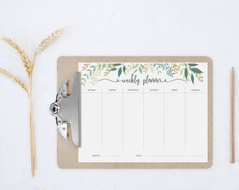Printable weekly planner, Botanical weekly planner, Printable planner 2017, Weekly Plan, Week planner, Weekly Agenda, Week Organizer