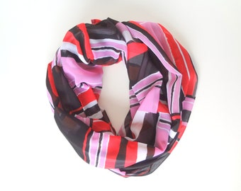 Colorful Infinity Scarf For Women, Pink & Red Scarf, Ladies Scarf, Geometric Scarf, Bright Scarf, Striped