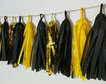 ONLY 14.99, 20 Tassel Bumblebee Yellow Tissue Paper Garland, Batman Party, Bumblebee Party Decorations, Batman Decorations, Streamers, poms