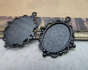 10pcs Black Cameo Cab Bezel Setting Frame Filigree Edge fit 18x25mm Cabochon Setting, Pendant Setting, Bezel Setting, Base Setting