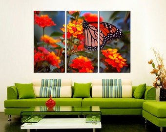 3 Panel  Canvas Split , Butterfly on Flower, Photo Print on Canvas,  Triptych  Canvas, Interior design, Room Decoration, Photo gift.