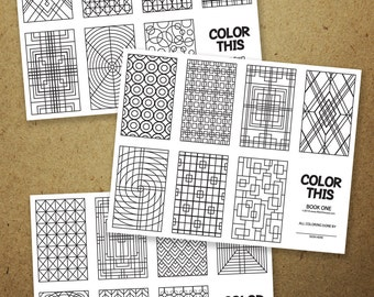 COLOR THIS #1: FIVE Make your own 8 page mini coloring book! Set of 5 pages.