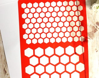 Stencil for mixmedia scrapbooking bee cells
