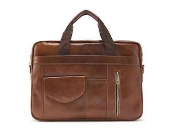 Mens Genuine Leather Briefcase Laptop Business Shoulder Bag Attache 9039