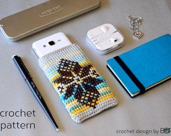 crochet pattern for phone case, cross stitch leaf motif, easy, diy, colorful, cotton, yarn, handmade, blue, yellow, boho, folk
