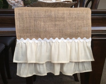 Burlap Table Runner,Table Runner, Table Topper, Wedding Table Runner, Natural Table Runner,Ruffled Table runner, Shabby Chic Table Runner