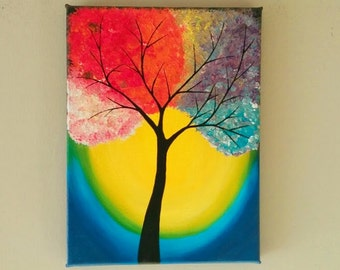 Original Abstract tree Painting, Acrylic Autumn Tree Wall decor,Tree painting,Landscape Painting, Tree of lIfe wall art 11x14 inches