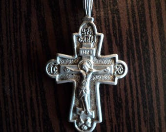 A beautiful silver chain. Silver cross.  Sterling Silver 925. Women's chain. The Crucifixion of Jesus. Original weaving.