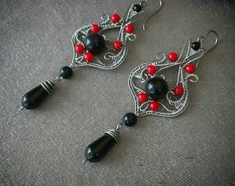 Red and black long wirewrapped earrings