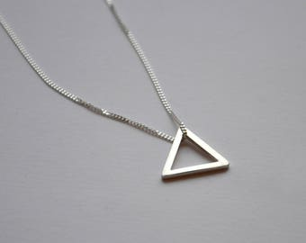 Small Sterling Silver Triangle Necklace | Open Triangle Geometric Necklace