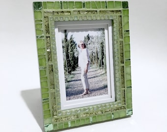 NEW HOME GIFT, Unique Photo Frame, Green Mosaic Frame, Wedding Frame Gift Idea, Decorative Frame, Mosaic Picture Frame, Engagement Gift