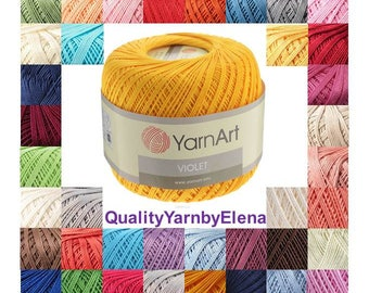 Summer yarn - Yarnart Violet - 100% mercerized cotton yarn - 50g 282m (308,5  yards)