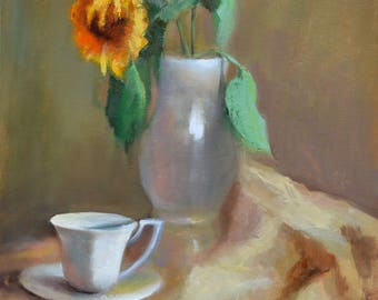 giclee of oil painting,still life, sunflower,бежевый