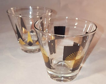 Prepaid Shipping......Mid Century Atomic Black/Gold Shot Glasses