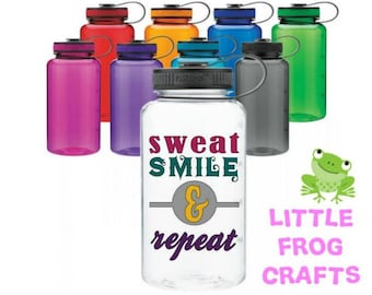 Sweat smile & Repeat, CUSTOM, Water bottle with quote and tracker, Motivational water bottle, Custom Water bottle,