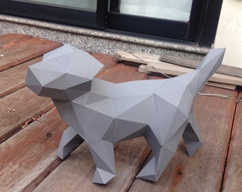Lowpoly Puppy papercraft model DIY template