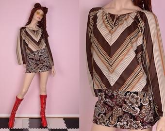 70s Striped Long Sleeve Top/ Medium/ 1970s