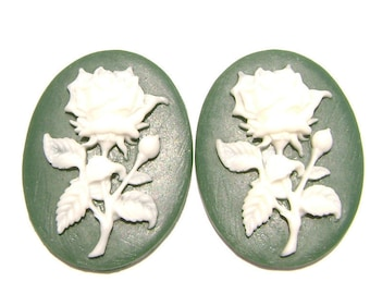 Cab Cabochon Cameo Acrylic Resin Flower Rose White on Green, 40x30mm, 5 Qty