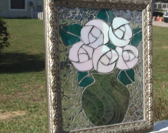 Stained Glass Mosaic White Roses Vase Window Repurpose Frame