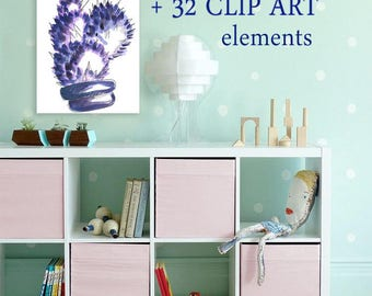 Awesome Clipart Purple Kitchen Decor Plant Mom Gifts Scrap Set Art Png Botanical