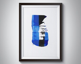 Abstract Minimalist Simple painting Blues & Black