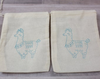 Set of 10 Hand stamped Llama Boho Muslin Party Favor Bags 100% organic made in america