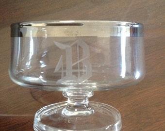 Dorothy Thorpe Style Vintage Coupe Or Dessert Glasses, Set of 6, Monogrammed B