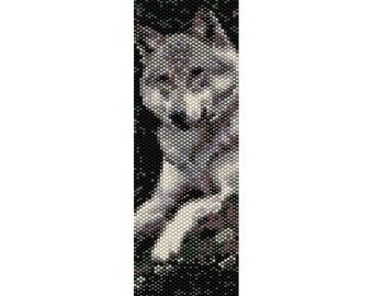 Wolf Peyote Bead Pattern, Bracelet Cuff, Bookmark, Seed Beading Pattern Miyuki Delica Size 11 Beads - PDF Instant Download