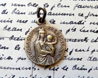 Our Lady vintage Medal. Religious necklace. Notre Dame de la Garde. Golden Metal.