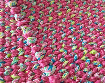 "Pink Multi Twined Rag Rug-READY TO SHIP-Kitchen Rug, Bath Mat, Entry Throw Rug-Easy care, Long Lasting 36""x24"""