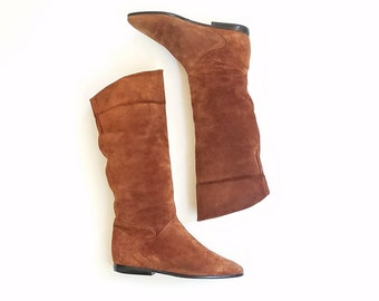 VIntage Womens 8 Brown Burnt Sienna Suede Leather Tall Riding Boots Pull On Moto Southwestern Hipster Gypsy Hippie Moto Summer Fashion Biker