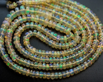 15.5 Inch Strand,39 Carats,ETHIOPIAN Opal Faceted Rondelles,3.5-7mm size