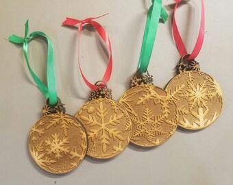 Laser Engraved Christmas Ornaments - Set of 4