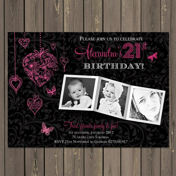 21st Birthday Party Invitation Adult Birthday Invite Photo