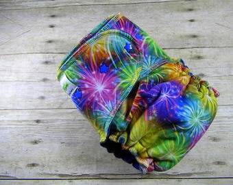 Fireworks! One Size Hybrid Fitted Diaper {Serged}