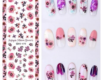 Antique Mauve flower water nail decal sticker sheet x 1