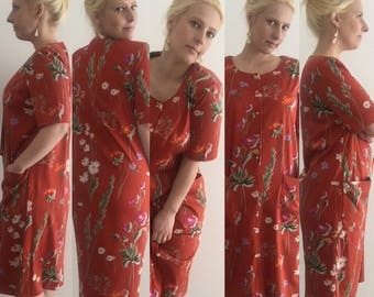 Retro Havanna Dress size 12/ Cotton Dress/ Retro Dress/ Vintage Dress/ Floral Print Dress/ Flower Dress