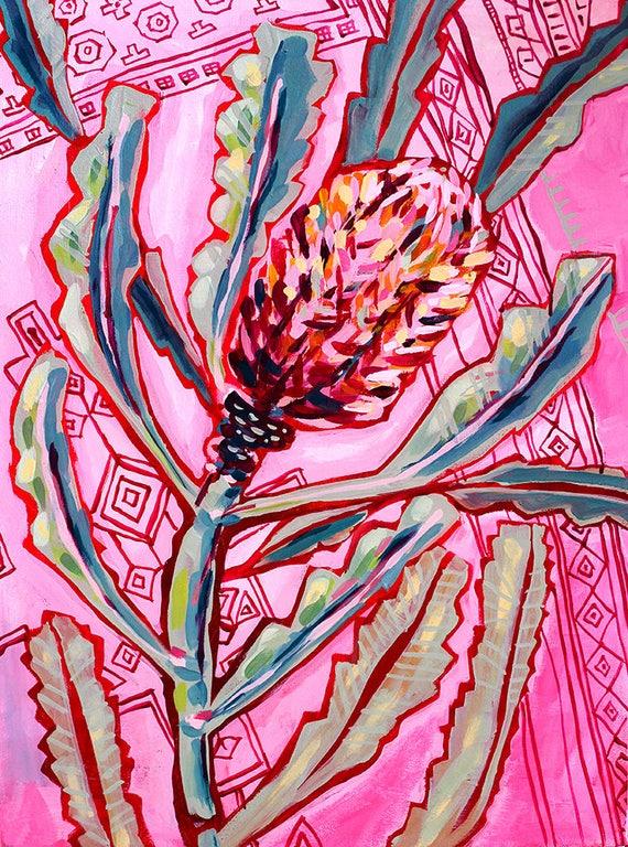 Banksia On Persians No.1 Archival Wall Art Print Illustration Australian Native art prints