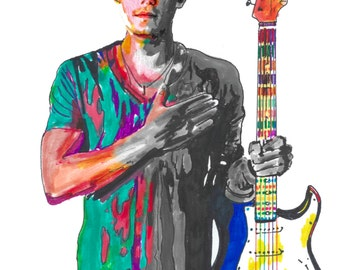 """John Mayer, Guitar Player, Guitarist, Blues Rock , Acoustic, Folk, POSTER from Original Drawing 18"""" x 24"""" Signed/Dated by Artist w/COA 4"""
