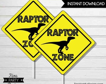 Jurassic Birthday Party Printable Centerpieces by Fara Party Design  Dinosaur Party  Boy Birthday   Raptor Zone   Cake Toppers